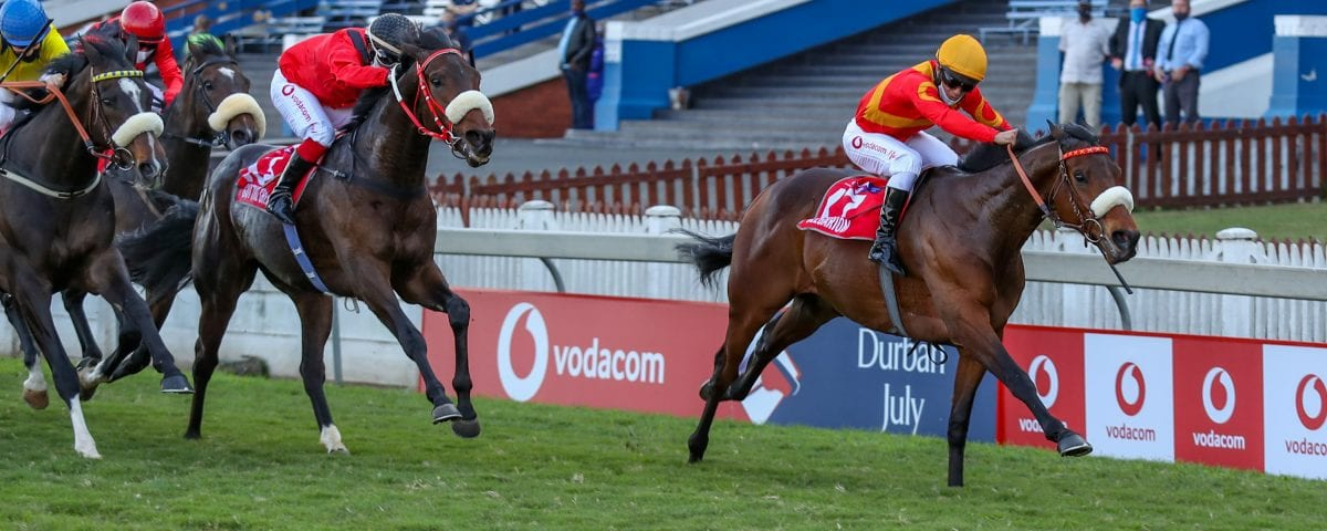 Belagarion wins the 2020 Vodacom Durban July. Images: Candiese Lenferna