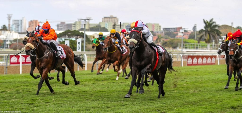Erik The Red beats Garrulous to the finish in the Gr2 Epol Umkhomazi Stakes. Image: Candiese Lenferna